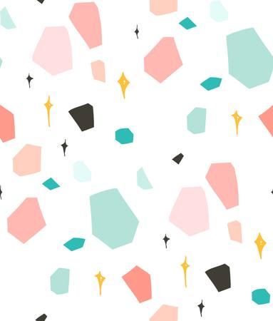 Hand getrokken vector abstracte grafische eenvoudige terrazzo collage naadloze patroon geïsoleerd op een witte achtergrond.