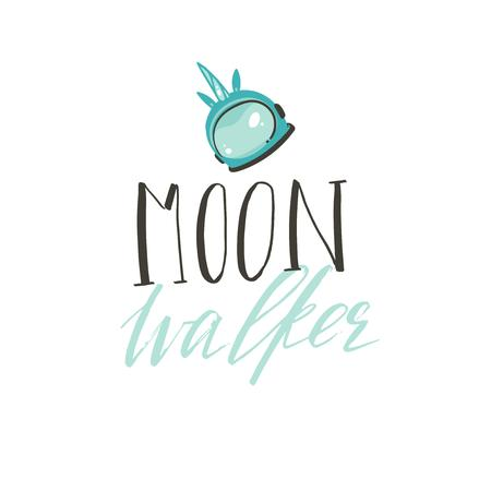 Hand drawn vector abstract graphic creative handwritten calligraphy phase Moon walker with unicorn astronauts helmet illustration isolated on white background