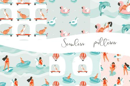 Hand drawn vector abstract cartoon graphic summer time illustrations pattern collection set with surfer girls,dogs on skateboards,pink flamingo and unicorn buoy rings isolated on blue waves