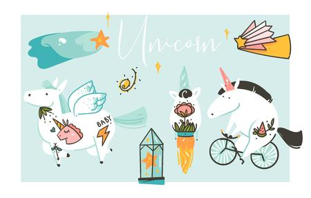 Hand drawn vector abstract graphic creative artistic cartoon illustrations collection set with unicorns with old school tattoo,pegasus,galaxy planets and comets isolated on white background.