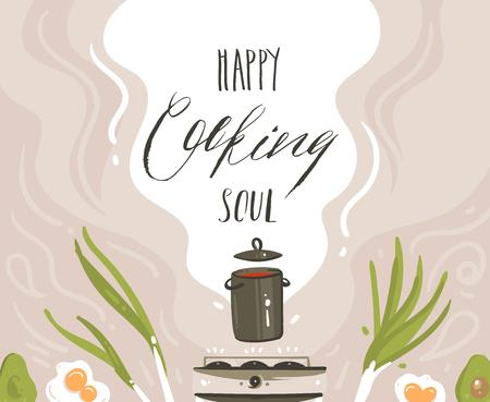 Hand drawn vector abstract cartoon cooking class illustrations poster with preparing food scene,soup pan,vegetables and Happy soul cooking handwritten modern calligraphy isolated on white background.