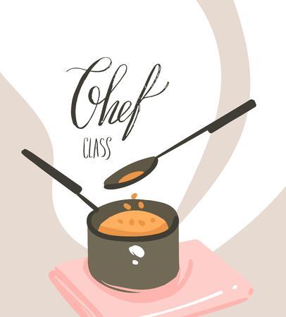 Affiche d'illustrations de cours de cuisine dessin animé moderne abstrait vecteur dessiné à la main avec la préparation de la scène de la nourriture, une casserole, une cuillère et un texte de calligraphie manuscrite Classe de chef isolé sur fond blanc.