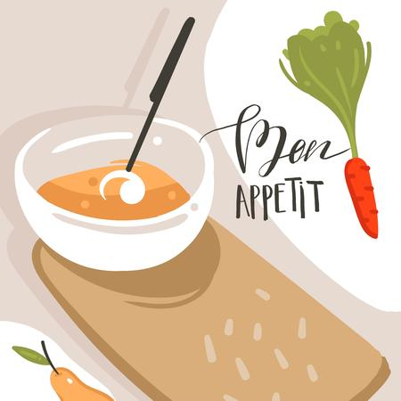 Hand drawn vector abstract modern cartoon cooking class illustrations poster with preparing food scene,cream soup plate and modern handwritten calligraphy Bon appetit isolated on white background