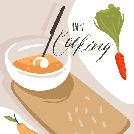 Hand drawn vector abstract modern cartoon cooking class illustrations poster with preparing food scene,cream soup plate and modern handwritten calligraphy Happy cooking isolated on white background Illustration