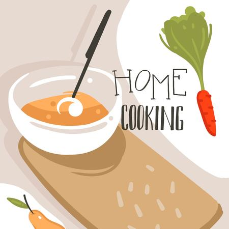 Hand drawn vector abstract modern cartoon cooking class illustrations poster with preparing food scene,cream soup plate and modern handwritten calligraphy Home Cooking isolated on white background
