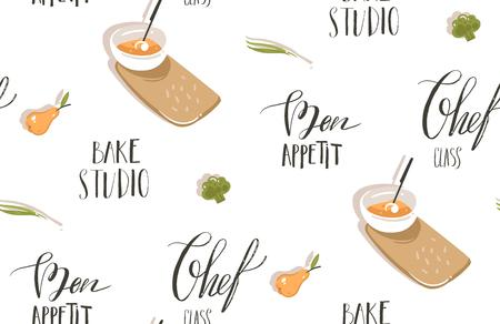 Hand drawn vector abstract modern cartoon cooking time illustrations icons seamless pattern with vegetables,cream soup plates and modern handwritten calligraphy quotes isolated on white background
