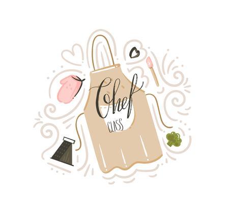 Hand gezeichnete Vektor abstrakte moderne Karikatur Kochklasse Illustrationen Poster Abzeichen mit Kochschürze, Utensilien und Chef Klasse handgeschriebene moderne Kalligraphie lokalisiert auf weißem Hintergrund