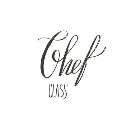 Hand drawn vector abstract modern cartoon cooking school concept illustrations poster card with handwritten modern calligraphy Chef class isolated on white background