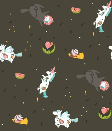 Hand drawn vector abstract graphic creative cartoon illustrations seamless pattern with cosmonaut unicorns with old school tattoo,pegasust and planets in cosmos isolated on black backgroun Stock Photo
