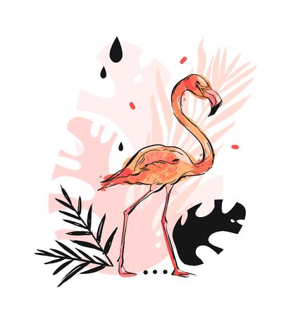 Hand drawn vector abstract graphic freehand textured sketch pink flamingo and tropical palm leaves drawing illustration print with modern confetti elements isolated on white background