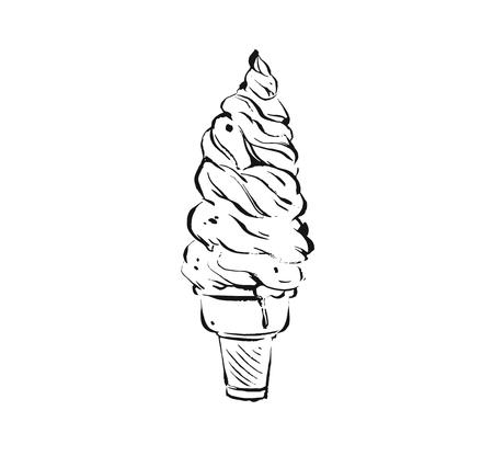 Hand drawn vector abstract artistic cooking ink sketch illustration drawing of big waffle ice cream cone isolated on white background.Kids menu concept Illustration