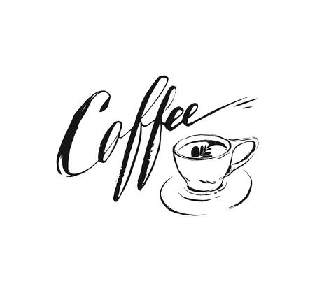 Hand drawn vector abstract artistic ink sketch drawing handwritten coffee word calligraphy and cup isolated white background.Coffee shop concept.