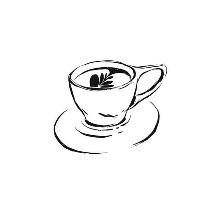 Hand drawn vector abstract artistic cooking ink graphic sketch drawing illustration of hot coffee drink in cup and isolated on white background.