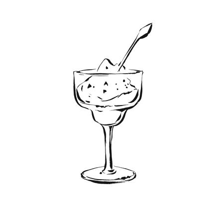 Hand drawn vector abstract artistic cooking ink sketch illustration drawing of fruit sorbet shake drink in wineglass isolated on white background.