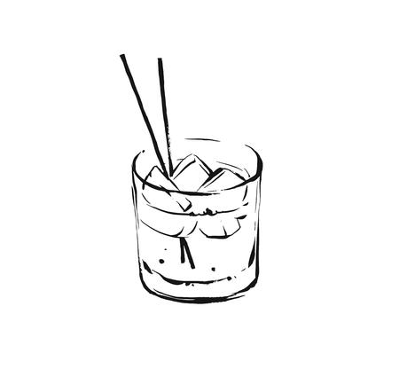 Hand drawn vector abstract graphic artistic cooking ink sketch illustration drawing of alcohol cocktail drink in glass isolated on white background.