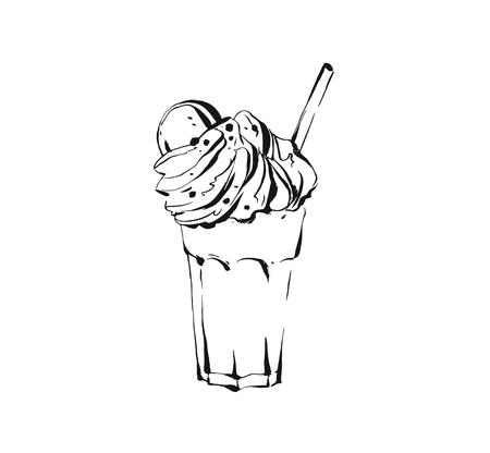 Hand drawn vector abstract artistic cooking ink sketch illustration drawing of milkshake cocktail and whipped cream in glass isolated on white background.Diet detox concept. Çizim