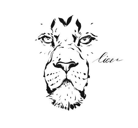 Hand drawn vector abstract artistic ink textured graphic sketch drawing illustration of wildlife lion head isolated on white background.