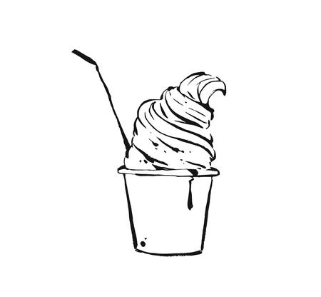 Hand drawn vector abstract ink drawing graphic sketch illustration icon with ice cream in takeaway plastic cup isolated on white background Illustration
