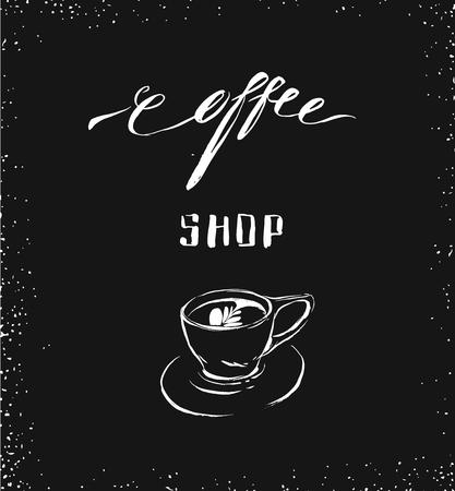 Hand drawn vector abstract artistic ink sketch drawing handwritten coffee word calligraphy and cup isolated on black chalkboard background.Coffee shop concept Ilustrace