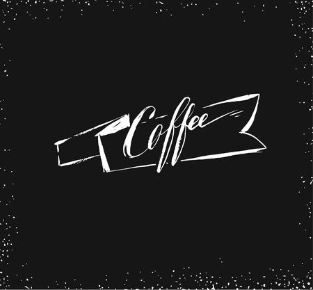 Hand drawn vector abstract artistic ink sketch drawing handwritten coffee word calligraphy and ribbon isolated on black chalkboard background.Coffee shop concept