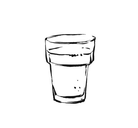 Hand drawn vector abstract artistic cooking ink sketch drawing illustration of hot coffee cocktail shake drink in glass isolated on white background Stock Photo