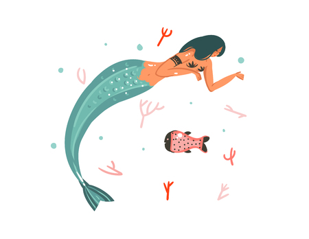 Hand drawn vector abstract cartoon graphic summer time underwater illustrations with coral reefs, fish and mermaid girl character.
