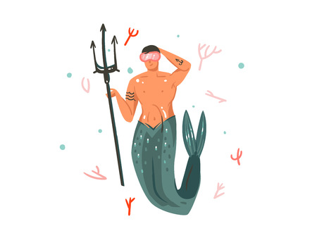 Hand drawn vector abstract cartoon graphic summer time underwater illustrations with coral reefs and swimming mermaid man character.