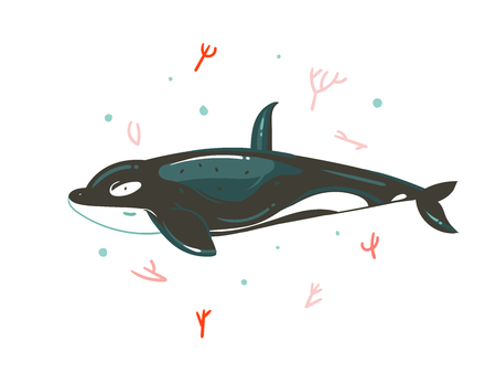 Hand drawn vector abstract cartoon graphic summer time underwater illustrations with coral reefs and beauty big killer whale character.