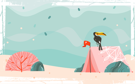 Hand drawn vector abstract cartoon summer time graphic illustrations template background with sea sand beach, blue waves, toucan bird, pink bohemian tent and copy space place for your text. Illustration
