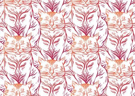 Cute vector cat seamless pattern illustration. Illustration