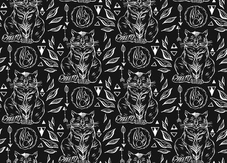 Meow seamless pattern cats on black background.