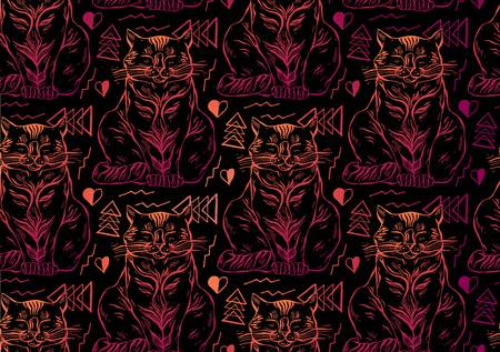 Meow seamless pattern cats on dark background.