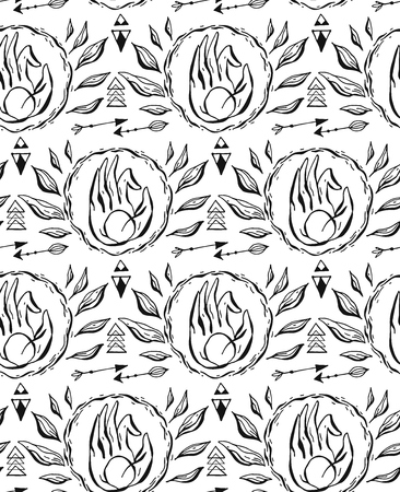 Hand drawn vector seamless pattern with hand mudra, arrows and leaves. Black and white pattern. Illustration