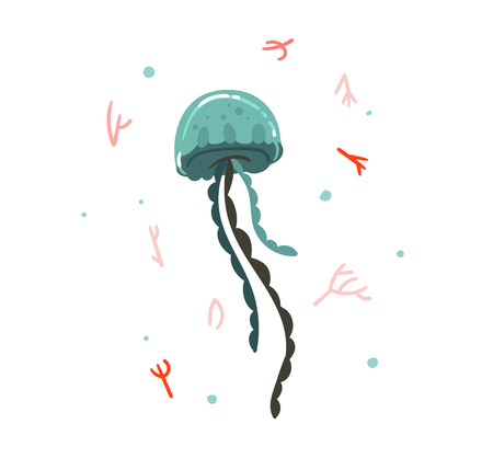 Hand drawn vector abstract cartoon graphic summer time underwater illustrations with coral reefs and beauty jellyfish on white background.