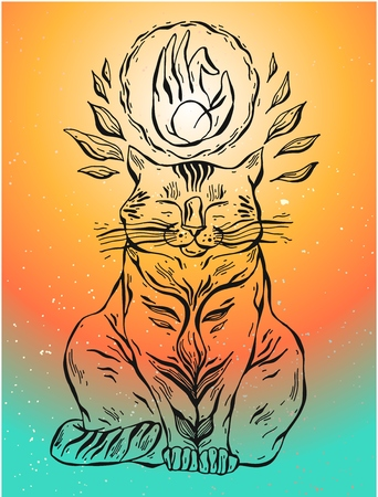 Hand drawn vector yoga cat with hand mudra illustration. Ilustração