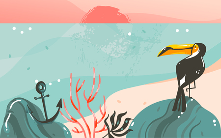Hand drawn vector abstract cartoon summer time graphic illustrations art template banner background with ocean beach landscape,pink sunset view,beauty toucan and with copy space place for your design Standard-Bild - 101104035