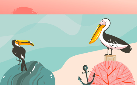 Hand drawn vector abstract cartoon summer time graphic illustrations art template background with ocean beach landscape,beauty toucan and pelican birds,sundown with copy space place for your design