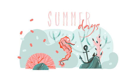 Hand drawn vector abstract cartoon summer time graphic illustrations art template background with ocean bottom,beauty seahorse and Summer days typography quote isolated on blue water waves