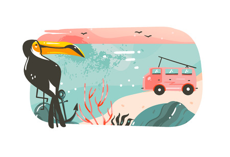 Hand drawn vector abstract cartoon summer time graphic illustrations. Art banner background with ocean beach landscape, pink sunset view, van camper car, toucan and copy space place.