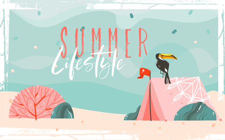 Hand drawn vector abstract cartoon summer time graphic illustrations. Template background with sea sand beach, blue waves, toucan bird, pink bohemian camping tent and Summer Lifestyle typography quote.