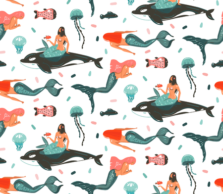 Hand drawn vector abstract cartoon graphic summer time underwater illustrations. Seamless pattern with killer whale, jellyfish and beauty bohemian mermaid girls characters.