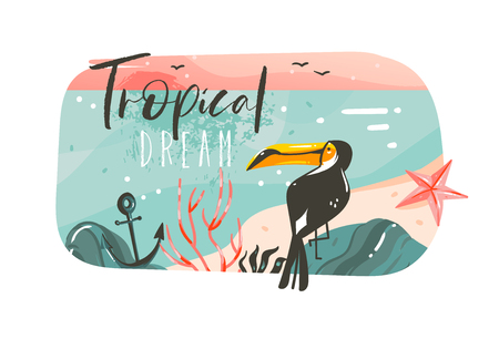 Hand drawn vector abstract cartoon summer time graphic illustrations art template banner background with ocean beach landscape,pink sunset view,beauty toucan with Tropical Beach typography quote