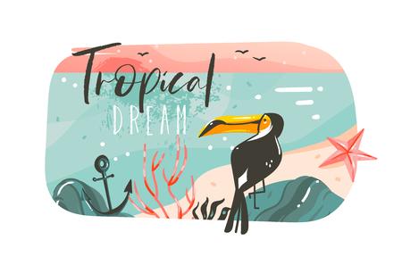 Hand gezeichnete Vektor abstrakte Karikatur Sommerzeit Grafik Illustrationen Kunst Vorlage Banner Hintergrund mit Ozean Strand Landschaft, rosa Sonnenuntergang Ansicht, Schönheit Tukan mit Tropical Beach Typografie Zitat