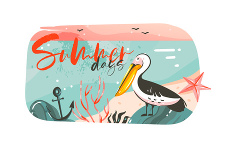 Hand drawn vector abstract cartoon summer time graphic illustrations art banner background with ocean beach landscape,pink sunset view,pelican bird and Summer days typography quote isolated on white Illustration