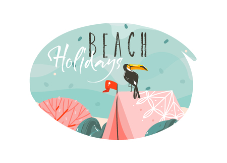 Hand drawn vector abstract cartoon summer time graphic illustrations. Template background with sea sand beach, blue waves, toucan bird, pink bohemian tent and Beach Holidays typography.