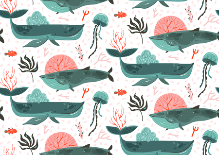 Hand drawn vector abstract cartoon graphic summer time underwater ocean bottom illustrations seamless pattern with coral reefs,beauty big whales,seaweeds and jellyfish isolated on white background