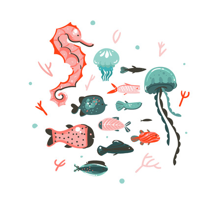 Hand drawn vector abstract cartoon graphic summer time underwater illustrations art collection set with coral reefs,jellyfish,seahorse and different fishes isolated on white background Ilustração