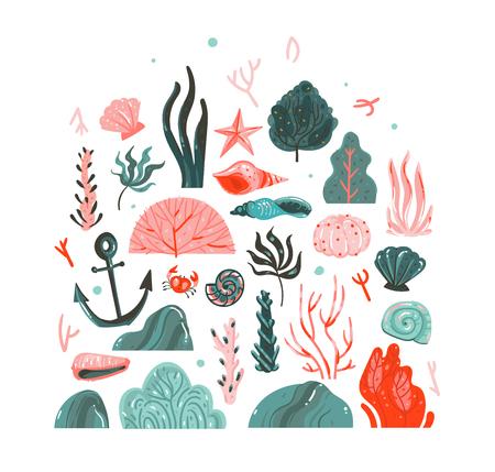 Hand getekende vector abstracte cartoon grafische zomertijd onderwater illustraties kunstcollectie set met koraalriffen, zeewier, zeesterren, krab, anker, stenen en zeeschelpen geïsoleerd op witte achtergrond