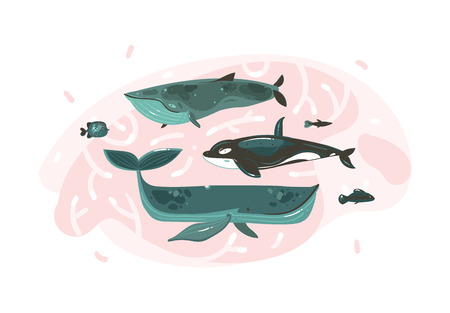 Hand drawn vector abstract cartoon graphic summer time underwater illustrations collection set with coral reefs and beauty big whales characters isolated on white background