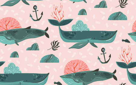 Hand drawn vector abstract cartoon graphic summer time underwater ocean bottom illustrations seamless pattern with coral reefs,beauty big whales,seaweeds and anchor isolated on pink pastel background.
